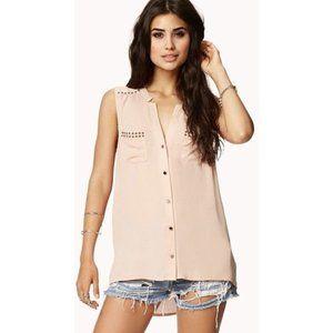 Forever 21 Studded Flat Collar Sleeveless Shirt